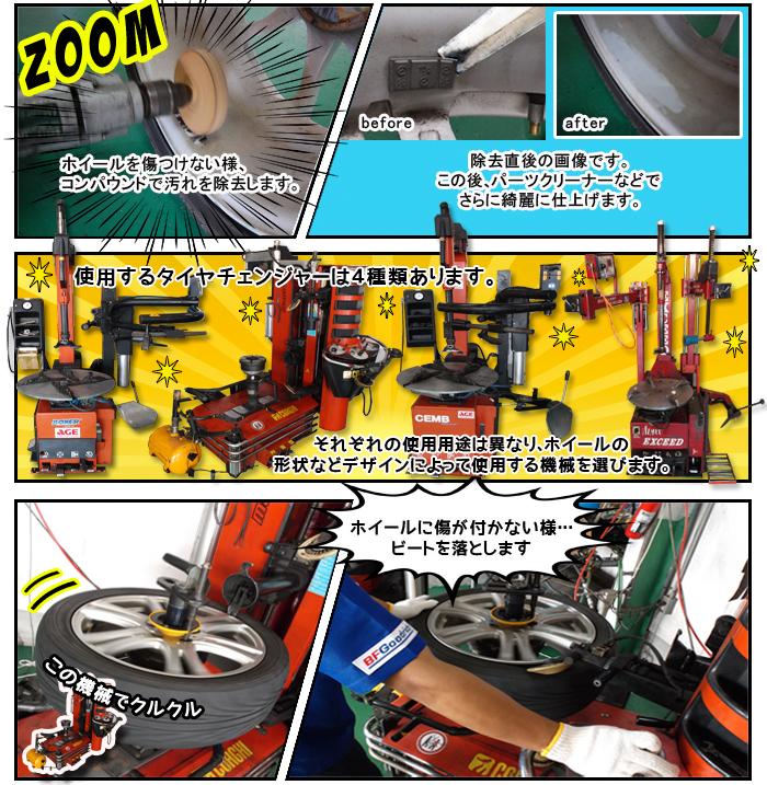 タイヤチェンジャーは全部で4種類、ビートのゴムかすははぎ落とします